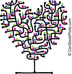 מבוך, של, אהוב, צורה של לב, עץ, ל, שלך, עצב