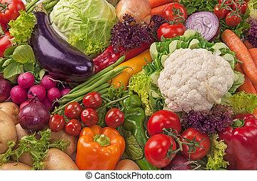 מבחר, של, ירקות טריים