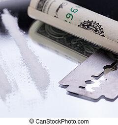 מגלח, תרופות, להב, קוים, אוביקטים, שקף, קוקאין