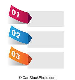מדבקה, infographic, שלושה, צבעוני