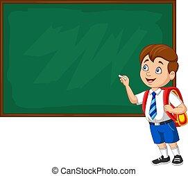 מדים, ציור היתולי, בחור, לכתוב, לוח, בית ספר