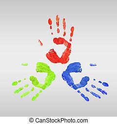 מדפיס, צבעוני, ידיים אנושיות