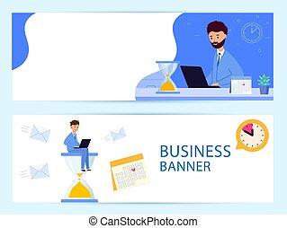 מהר, קבע, מעבד, banner., עסק, work., אופקי, מועד אחרון
