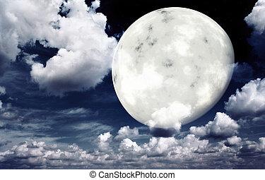 מואר, שמיים של לילה, ירח