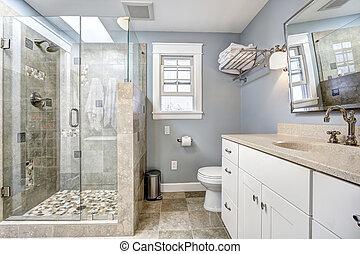 מודרני, חדר אמבטיה, פנים, עם, דלת של כוס, התקלח