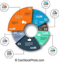 מודרני, נייר, infographics, ב, a, טבלה של עוגה, ל, רשת,...