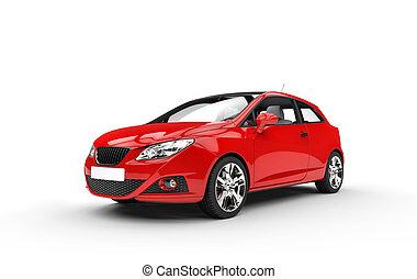 מודרני, קומפקטי, מכונית אדומה, השקפה של חזית