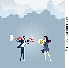 מוכר, איש עסקים, עסק, כסף, -, וקטור, מושג, אישת עסקים, רעיון