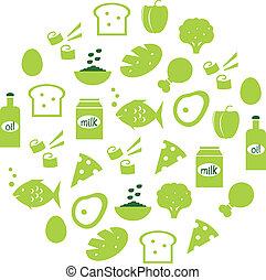 מופשט ירוק, גלובוס, עם, איקונים של אוכל, (, ירוק, )