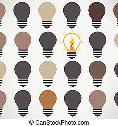 מושג, אור, יצירתי, רקע, נורת חשמל