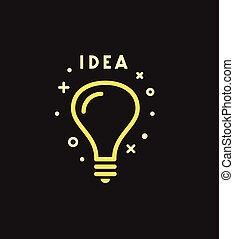 מושג, אור, רעיון, וקטור, נורת חשמל, icon.