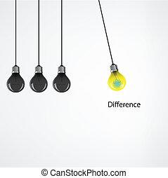 מושג, אור, concept., רעיון, יצירתי, נורת חשמל, רקע