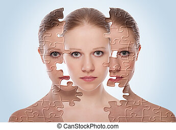 מושג, אחרי, צעיר, צפה, השפעות, אישה, טיפול קוסמטי, עור,...