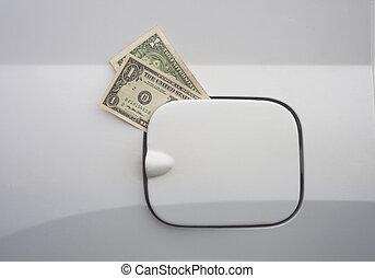 מושג, טנק, כסף, גז, דולר, bills., הזן, יקר