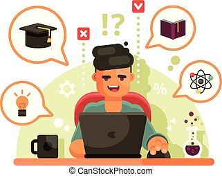מושג, ללמוד, laptop., חינוך אונליין, איש