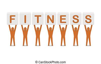 מושג, מילה, illustration., גברים, fitness., להחזיק, 3d