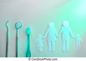 מושג, משפחה, של השיניים, בלבן, משטח שולחן, עם, אור ירוק