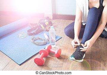 מושג, סגנון חיים, אישה בריאה, כושר גופני, פעיל, ספורט
