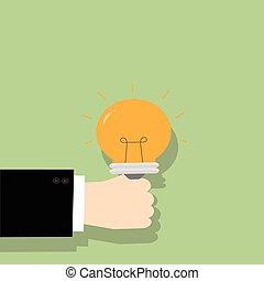 מושג, עסק, אור, רעיון, יד מחזיקה, bulb.