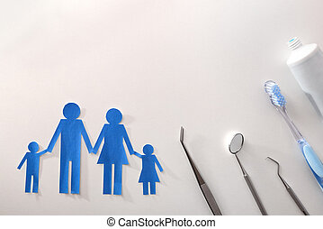 מושג, של, משפחה, ביטוח של השיניים, בלבן, משטח שולחן
