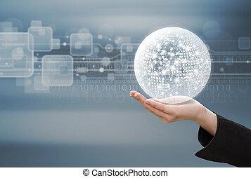 מושג של עסק, של, אישה של עסק, יד מחזיקה, רשת גלובלית, עצב, ב, טכנולוגיה, רקע