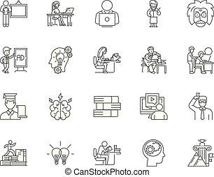 מושג, תאר, קבע, איקונים, דוגמה, וקטור, מבוגר, קו, חינוך, סימנים