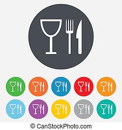 מזלג, wineglass., חתום, icon., סכין, אכל