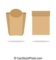 מחזר, נייר חום, bag., אחסן, דירה, וקטור, illustration.