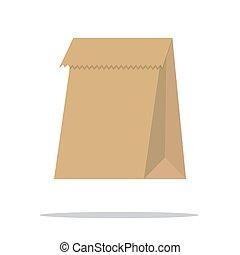 מחזר, נייר חום, bag., vector.