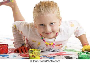 מחייך, מושב, ילד, במשך, לצבוע, שמח