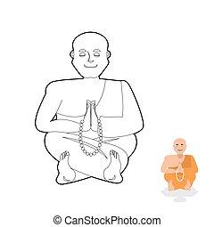 מחרוזת תפילות, style., טיבטי, בודהיסט, מנזר, נזיר, book., ...