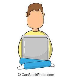 מחשב נייד, איש, איקון