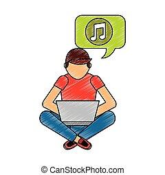 מחשב נייד, איש, מוסיקה מקשיבה, לשבת