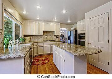 מטבח, חדר, עם, לבן, אחסנה, שילוב, ו, אי