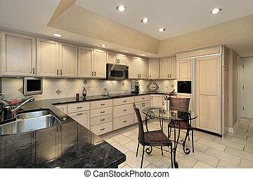 מטבח, עם, אור, אלון, cabinetry