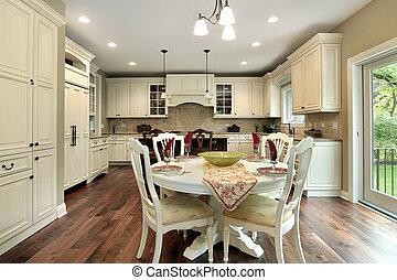 מטבח, עם, אור, עץ, cabinetry