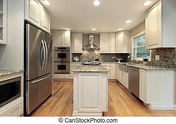 מטבח, עם, אור, צבע, cabinetry