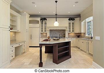 מטבח, עם, אור, cabinetry