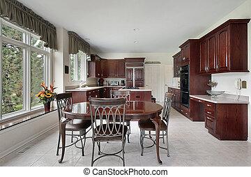מטבח, עם, דובדבן, עץ, cabinetry