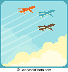 מטוסים, מעל, לטוס, שמיים, דוגמה, clouds.