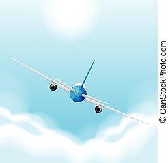 מטוס, לטוס, שמיים, השקע