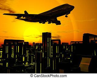 מטוס, מעל, עיר, מיכשולים