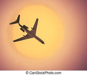 מטוס נוסעים, ב, בהיר, חם, שמיים