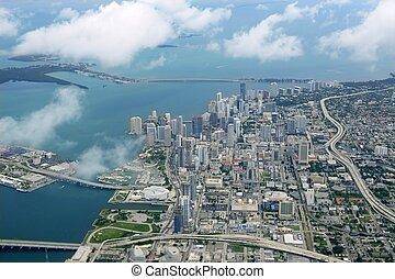 מיאמי, עיר, מרכז העיר, השקפה של אנטנה, כחול, ים