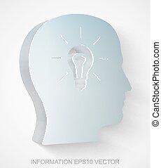 מידע, הובל, 10, extruded, הכנסה לכל מניה, icon:, מתכתי, vector., נורה