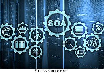 מידע, מושג, שרת, טכנולוגיה של עסק, oriented, soa., אדריכלות, מתחת, דגמן, encapsulation., עיקרון