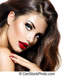 מיני, יופי, ילדה, עם, שפתיים אדומות, ו, nails., פרובוקטיבי, איפור