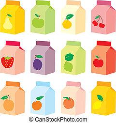 מיץ, קופסות, קרטון, הפרד
