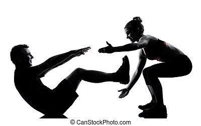 מישהו, קשר, אישה של איש, להתאמן, אימון, כושר גופני