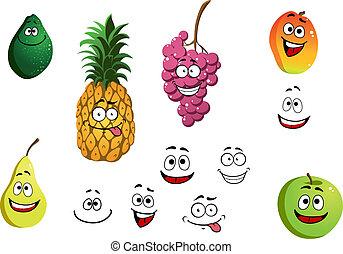 מישמש, אננס, תפוח עץ, אגס, ענב, ו, לימון, פירות